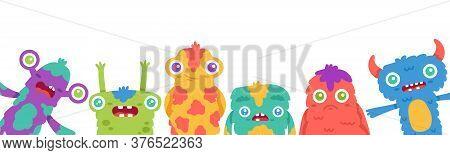 Cartoon Monsters Background. Halloween Cartoon Cute Monster Mascots, Fluffy Creature, Funny Alien Gr