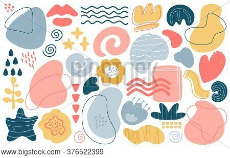 Abstract Doodle Elements. Trendy Modern Hand Drawn Textured Shapes, Creative Contemporary Aesthetic