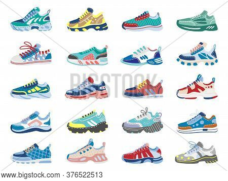 Modern Sneakers. Running, Training Footwear, Fitness Sport Sneakers, Modern Athletic Shoes Isolated