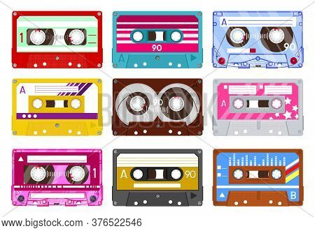 Retro Audio Cassette. Vintage Audio Tape, 90s Music Cassette, Analogue 80s Stereo Audiocassette Isol