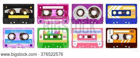 Audio Record Tapes. Retro 90s Music Cassette, Vintage Music Mix Audio Cassette, 80s Audio Tape Isola