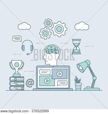Distant Learning Vector Cartoon Outline Illustration. Laptop Screen With Video Lessons, Desk With Bo