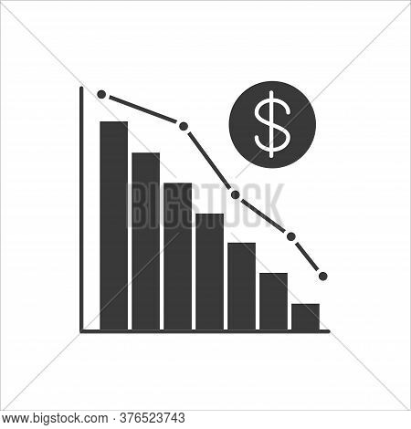 Economic Problems Black Glyph Icon. Bankruptcy. Sinking Business Process In Financial Crisis. Econom