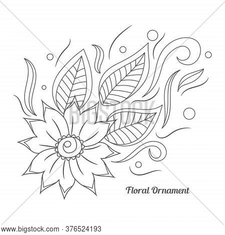 Floral Ornament In Indian Mehndi Style. Hand Drawn Floral Doodle. Orient Traditional Background Desi