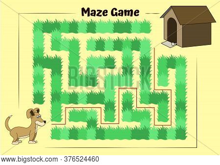 Dog And Doghouse Maze. Educational Game For Children. Help The Dog Run To Its Kennel - Maze Puzzle W