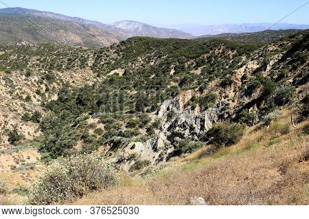Arid Chaparral Covered Hills With Bluffs Taken On Rural Grasslands In The Southern California Platea