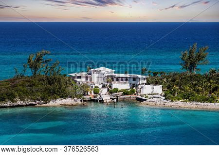 A Large House On Finger Of Land In Nassau Bahamas With Hurricane Damage