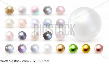 Pearl Set Isolated On Transparent Background. Spherical Beautiful 3d Orb With Transparent Glares And