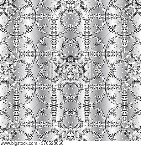 Greek 3d Seamless Pattern. Vector Silver Ornamental Background. Tribal Ethnic Style Repeat Floral Ba