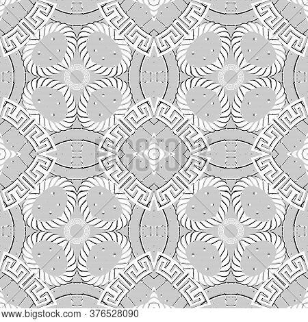 Greek Seamless Pattern. Vector Ornamental Light Background. Tribal Ethnic Repeat Floral Backdrop. Ge