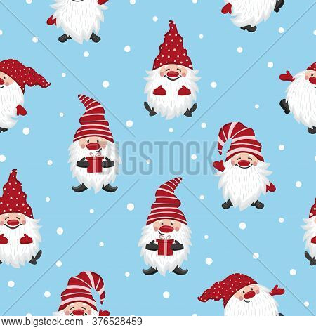 Cute Gnomes Pattern. Seamless Christmas Background With Elf Characters.