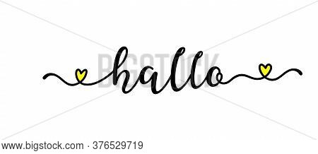 Hand Sketched Hallo Quote In German As Ad, Web Banner. Translated Hello. Lettering