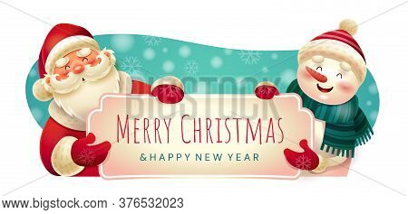 Merry Christmas Festive Holiday Banner With Santa Claus And A Smiling Snowman Holding The Text, Colo