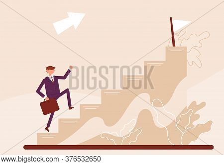 Businessman Start Walking Up Stairway First Step. Concept Growth And The Path To Future Success. Col