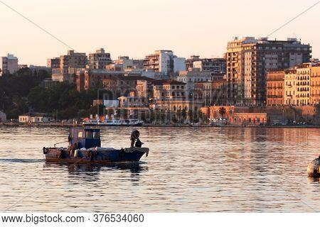 Boat In The Little Sea Of Taranto, Italy. Puglia