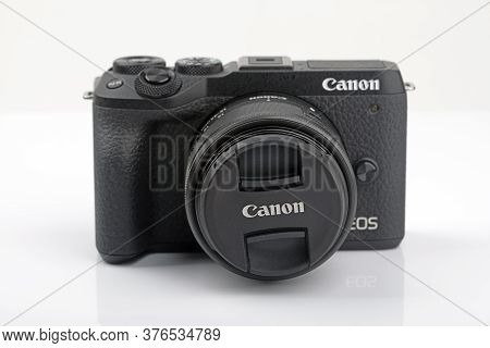Wetzlar, Germany 2020_04_11: Canon Eos M6 Mark Ii On White Background. Canon Is A Japanese Multinati