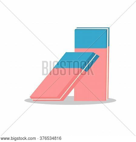 Vector Illustration Of Eraser Blue And Pink Color. Flat Image On White Background.