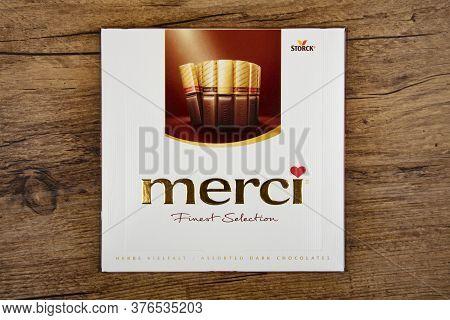 Wetzlar, Germany 2020-06-10: Bar Of Finest Merci Chocolate. Box Of Merci Chocolate Bars. Merci Is Br