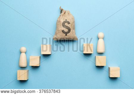 The Concept Of The Cult Of Money. The Bag With The Image Of A Dollar And An Abstract Staircase With