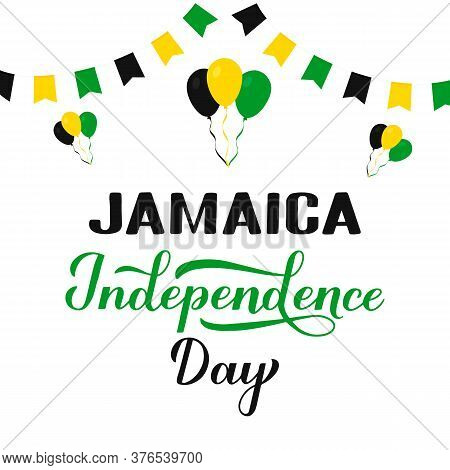 Jamaica Independence Day Typography Poster. Jamaican Holiday Celebrated On August 6. Vector Template