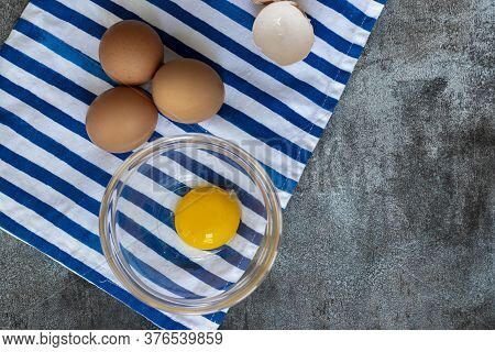 View Of Raw Eggs, With Their Shells
