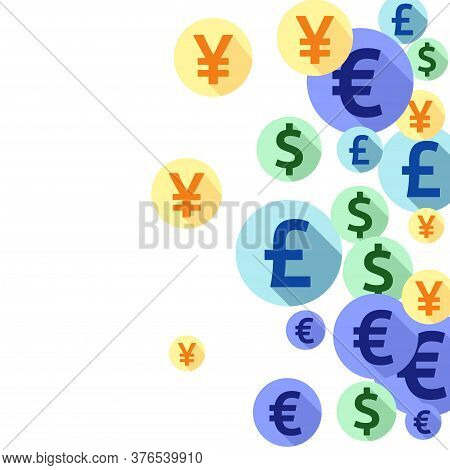 Euro Dollar Pound Yen Round Symbols Flying Money Vector Background. Jackpot Concept. Currency Icons