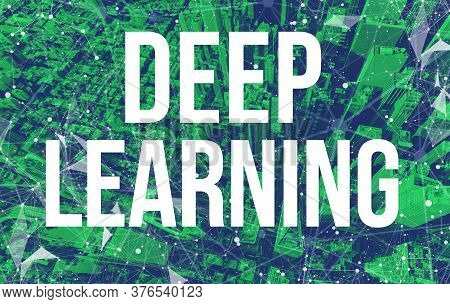 Deep Learning Theme With Abstract Network Patterns And Manhattan Ny Skyscrapers