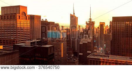 New Yokk, Ny - Jan, 04, 2016: Times Square, Midtown Manhattan, New York Skyline At Sunset