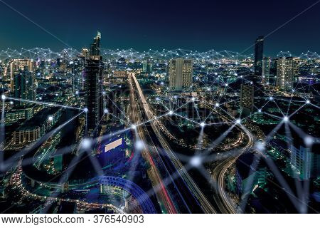 Smart City And Dot Point Connect Modern Telecom System ,boundless Connection Technology Concept.blue