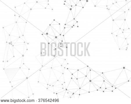 Big Data Cloud Scientific Concept. Network Nodes Greyscale Plexus Background. Tech Vector Big Data V