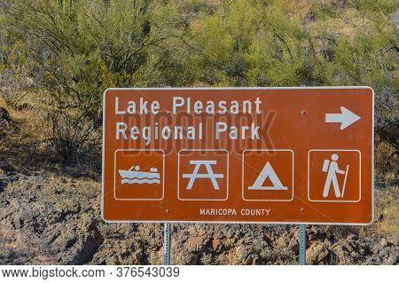 Lake Pleasant Regional Park Sign In Maricopa County, Arizona.