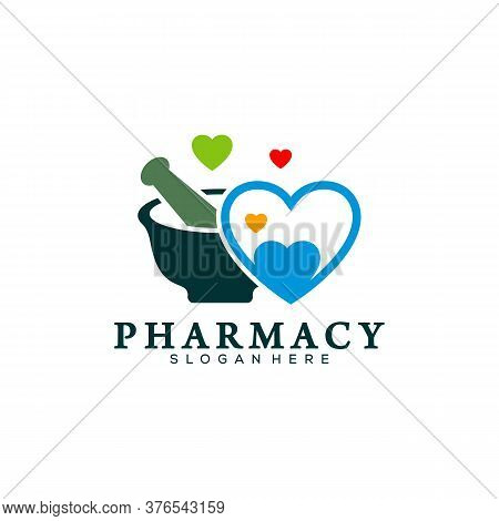 Pharmacy With Love Logo Design Template, Medical Pharmacy Logo Vector, Icon Symbol