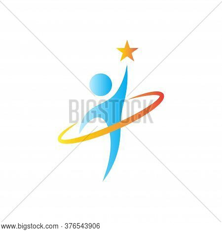 Abstract Logo Of People Reaching For Stars, Reach Dreams