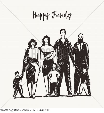 Happy Family Together Mother Father Sister Vector