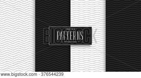 Minimal Black And White Zigzag And Wave Pattern Set