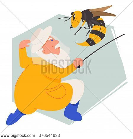 The Bee And Hornet Illustration. The Story Of Honey Bee. Beekeeper Fights The Pest Of Bees