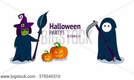 Spooky Witch And The Grim Reaper. Halloween Characters With Carved Pumpkins. Halloween Party Invitat