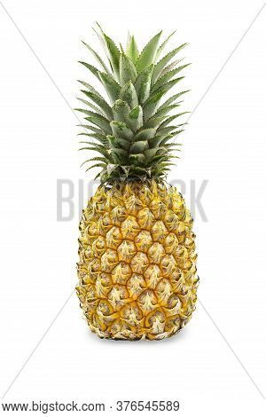 Perfect Organic Ripe Pineapple With Green Stem And Yellow Golden Peel On White Isolated Background W