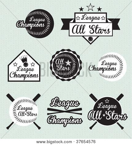 Vector Set: Vintage Baseball All Star Labels and Stickers