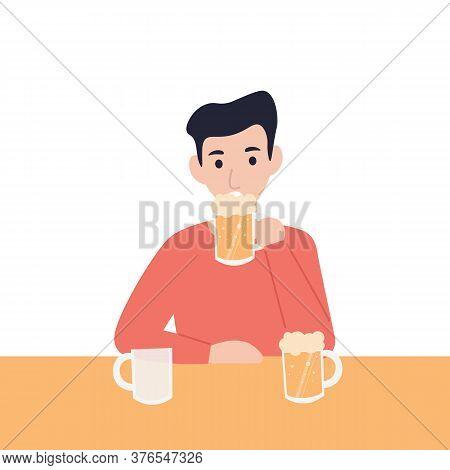 Man Drinks Beer At The Bar. Flat Vector Cartoon Modern Illustration.