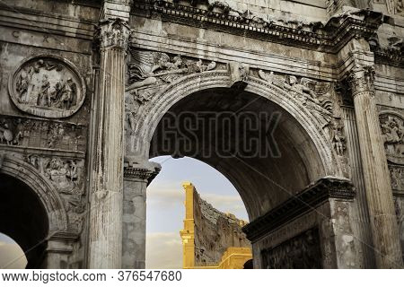A View Of Colosseum Inside The Arch Of Constatine, Near The Colosseum, Rome, Italy
