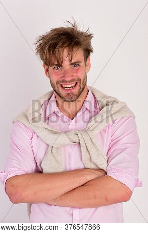 Guy With Bristle In Pink Shirt, Sweater Tied On Shoulders