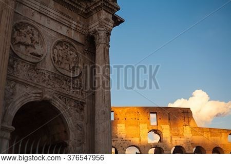 A View Of Colosseum Near The Arch Of Constatine, Rome, Italy