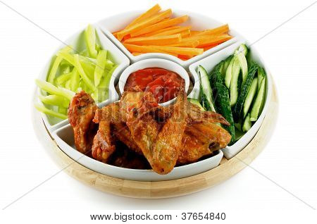 Chicken Wings Platter And Vegetables