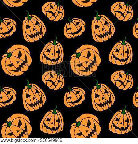 Seamless Pattern With Pumpkins, Jack Lanterns. Vector Backgrounds And Textures For Halloween. Hand D