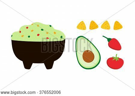 Mexican Guacamole Dip, Spread, Sauce In Bowl With Vegetables. Avocado, Tomato, Chili Pepper And Nach