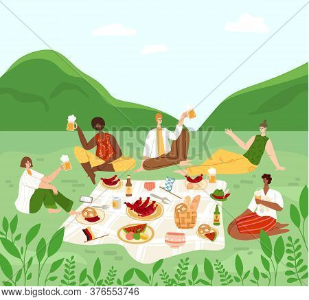 Oktoberfest Or Beer Festival Event, Group Of People Having A Picnic In Rural Area, Men And Women Cha