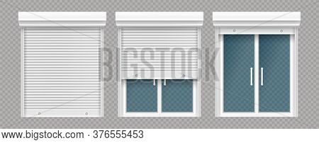 Plastic Window With Rolling Shutter Isolated On Transparent Background. Vector Realistic Set Of Clos