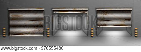 Rusty Garage Doors, Warehouse Entrances With Ferruginous Close And Open Roller Shutters. Empty Hanga