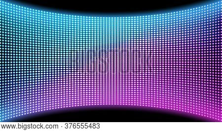 Led Video Wall Screen Texture Background, Blue And Purple Color Light Diode Dot Grid Concave Tv Pane